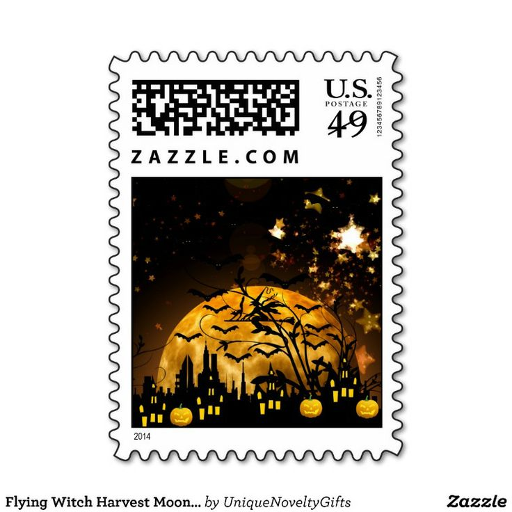 Harvest Moon clipart halloween bat Witch postage on Postage images