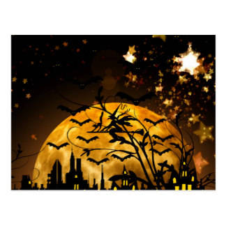 Harvest Moon clipart halloween bat Witch Postcard Gifts Flying Halloween