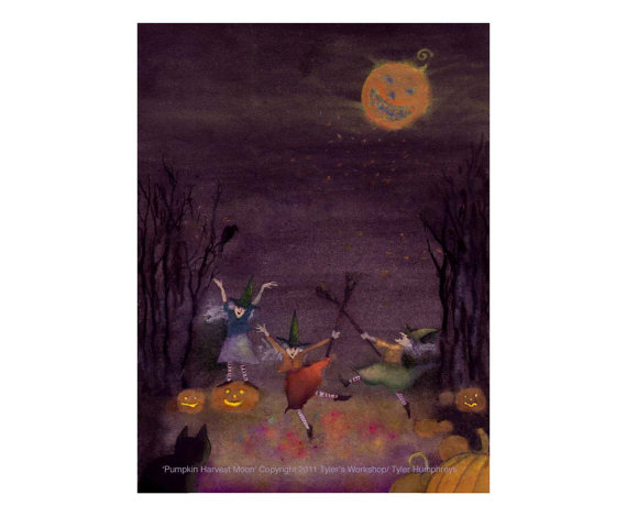 Harvest Moon clipart halloween dance Witches Funny Card Pumpkins Dancing
