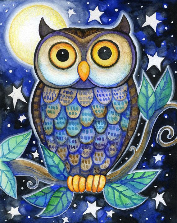 Harvest Moon clipart night owl Print Owl Night ideas Colorful