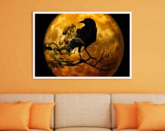 Harvest Moon clipart orange halloween Moon Art Download Print Halloween