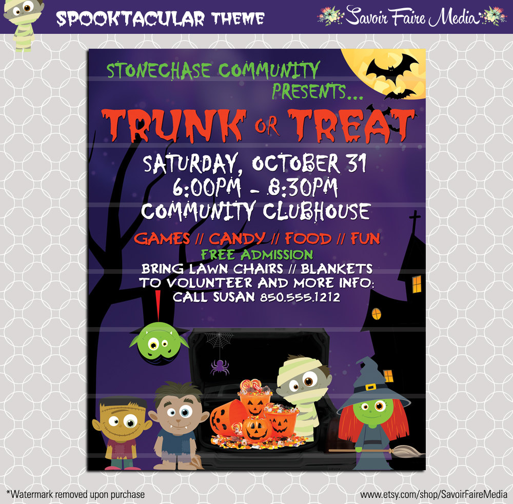 Harvest Moon clipart trunk or treat Flyer Invitation Poster this Template