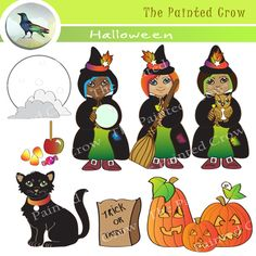 Harvest Moon clipart trunk or treat Includes owl little world's witches