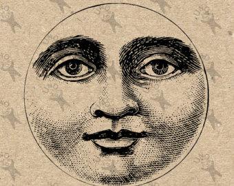 Etsy Clipart Moon Harvest face