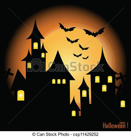 Haunted clipart background Vector bats Halloween with of