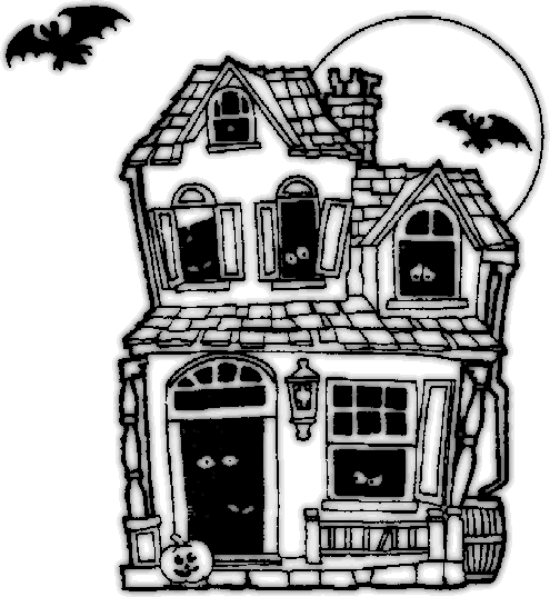 Haunted clipart black and white House collection clipart and Black