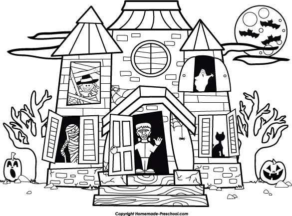 Haunted clipart black and white Halloween Clipart and white house