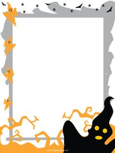 Haunted clipart border Halloween and printable cats free