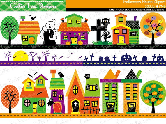 Haunted clipart border Halloween (CG186) Studio Digital Etsy