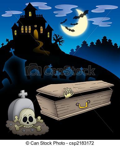 Haunted clipart cemetery Art Cemetery Cemetery illustration illustration