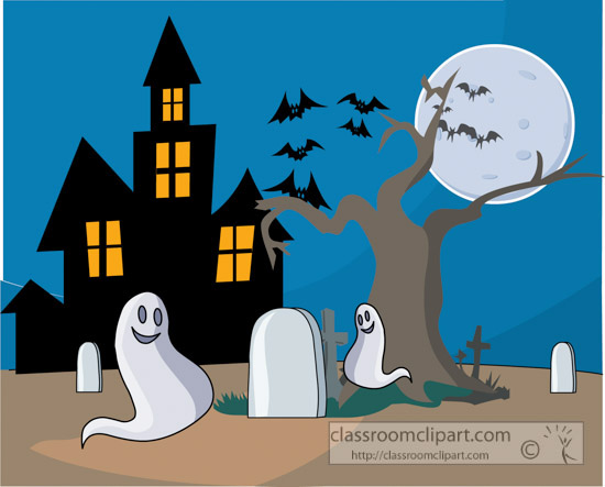 Haunted clipart halloween full moon Classroom : Halloween : haunted_house_ghosts_clipart_290