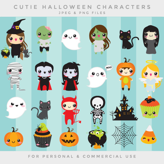 Haunted clipart cute ghost Etsy witch kawaii mummy whimsical