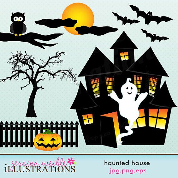 Haunted clipart cute halloween bat Cute Clipart on Cards images