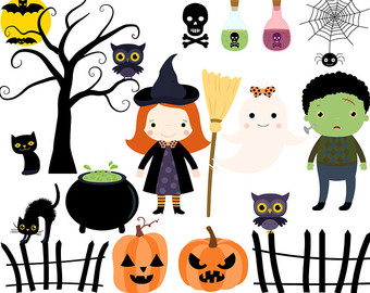 Spooky clipart witch house House clipart hat clipart art