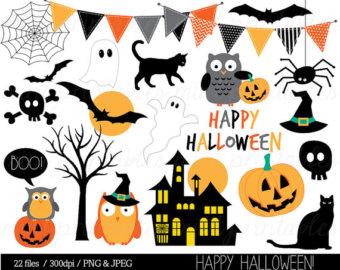 Haunted clipart cute halloween bat Haloween Witch Etsy Owl Halloween