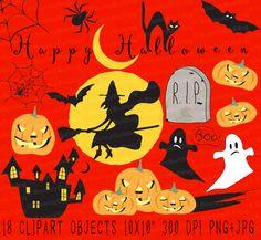 Haunted clipart cute halloween bat Halloween moon Cute ghost Clipart