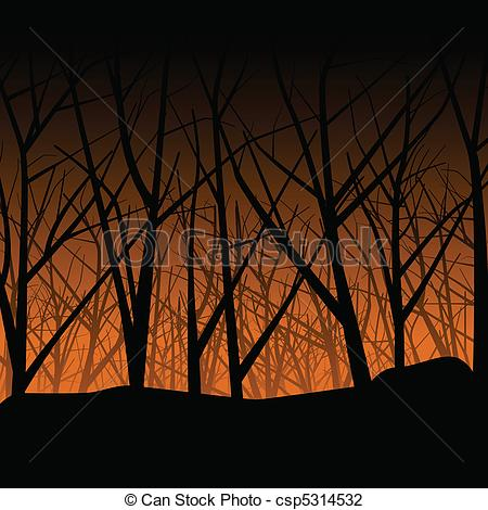 Ghostly clipart eerie Autumn haunted Vector forest Haunted