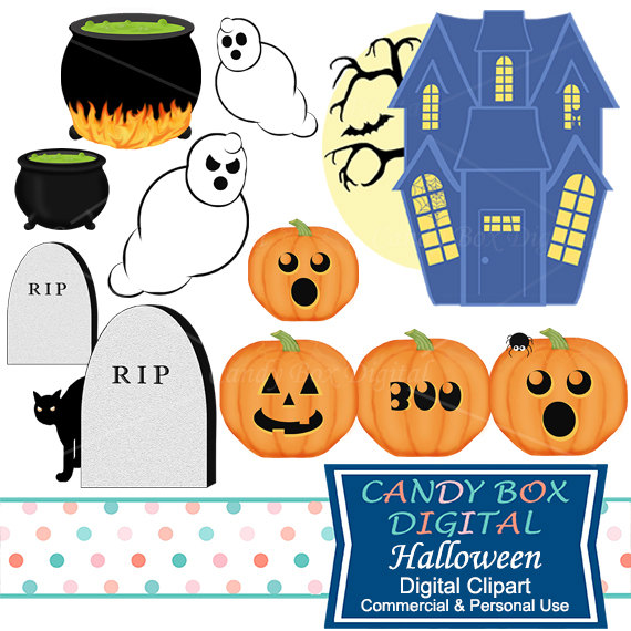 Haunted clipart gost Clip House Etsy Pumpkin Ghost