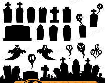 Cemetery clipart border Graveyard Halloween graveyard  White