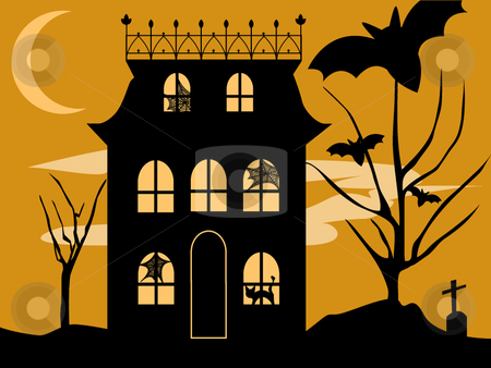 Stock vector House Halloween House