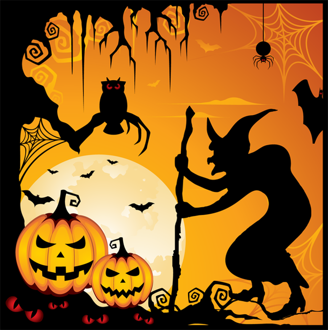 Haunted clipart halloween scene O'Lanterns Jack  and Halloween