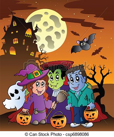 Haunted clipart halloween full moon Clipart Mansion Halloween Scene cliparts