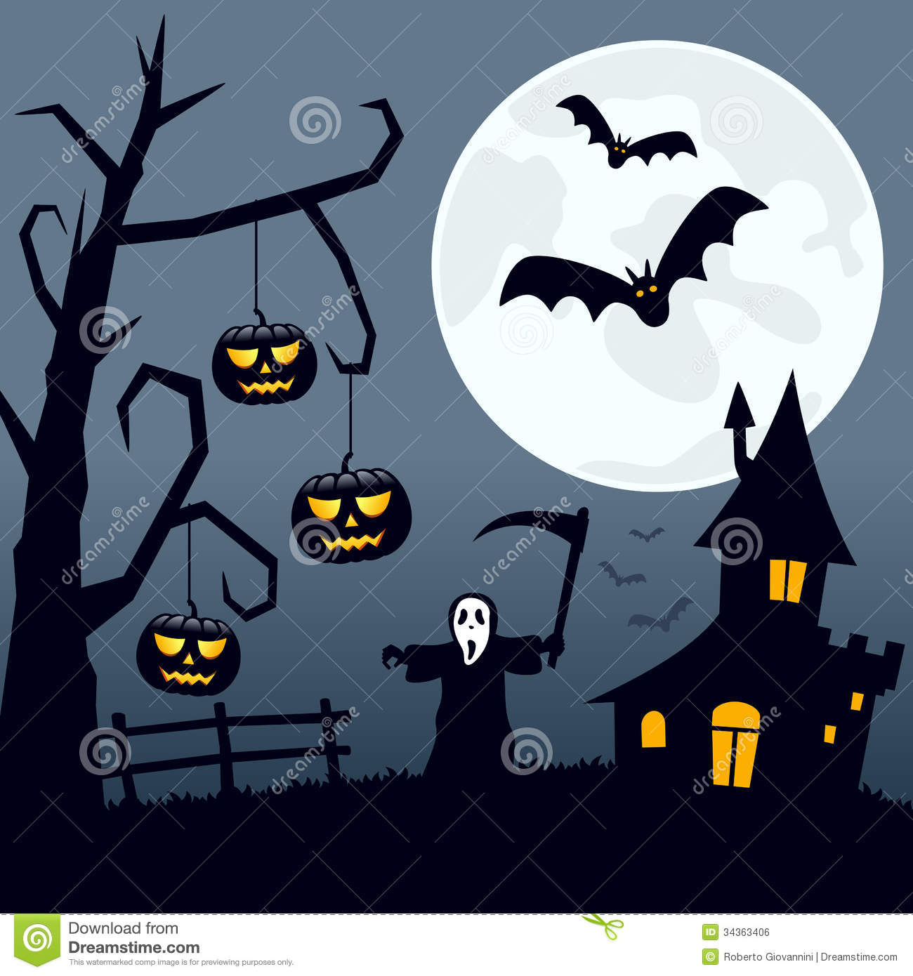 Haunted clipart halloween scene Background Moon scene With moon