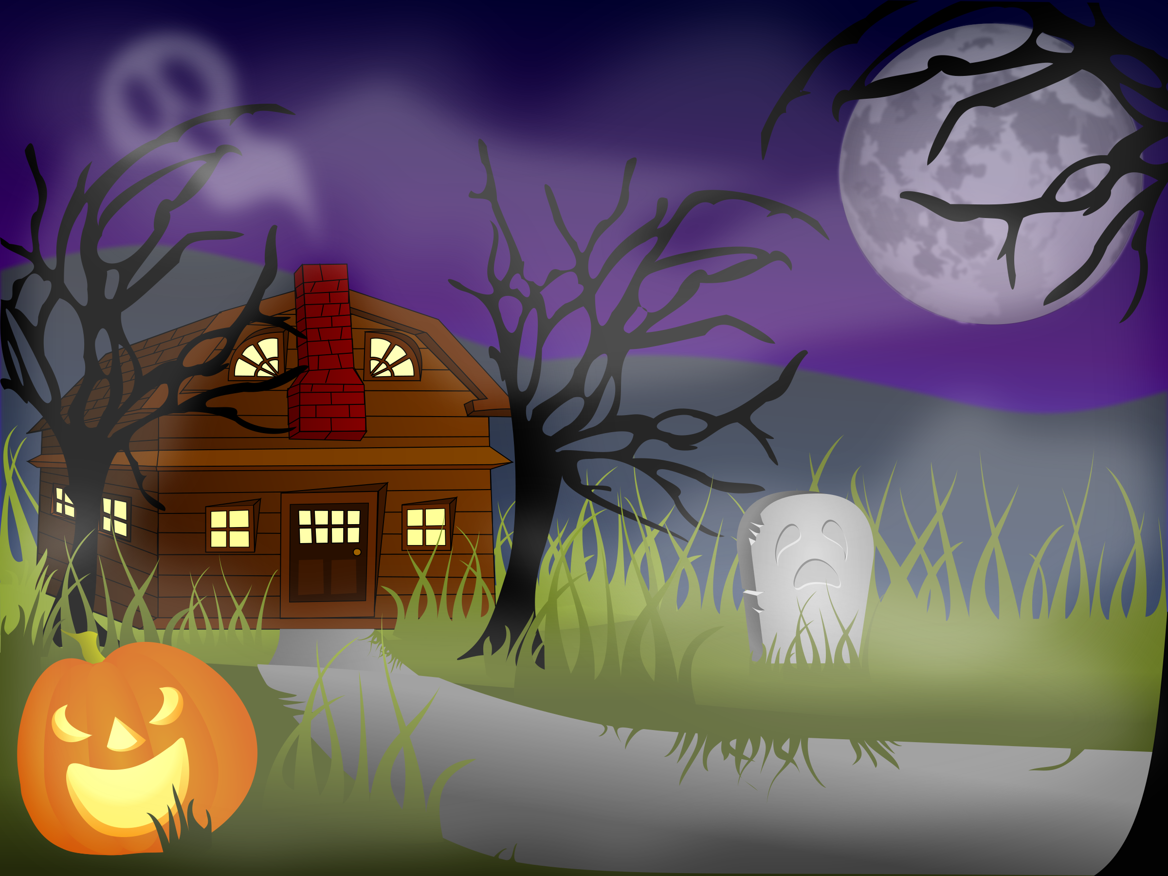 Haunted clipart halloween scene Halloween Clipart Haunted Halloween Fog