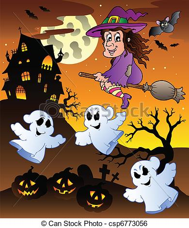 Haunted clipart halloween scene Csp6773056  5 Clip 5