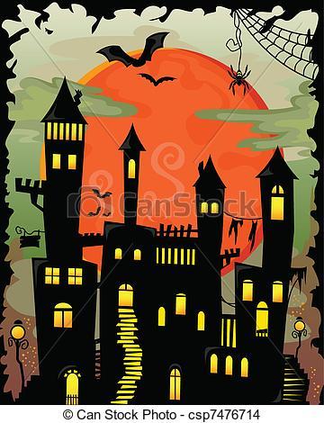 Haunted clipart haunted castle Halloween haunted castle castle Vector