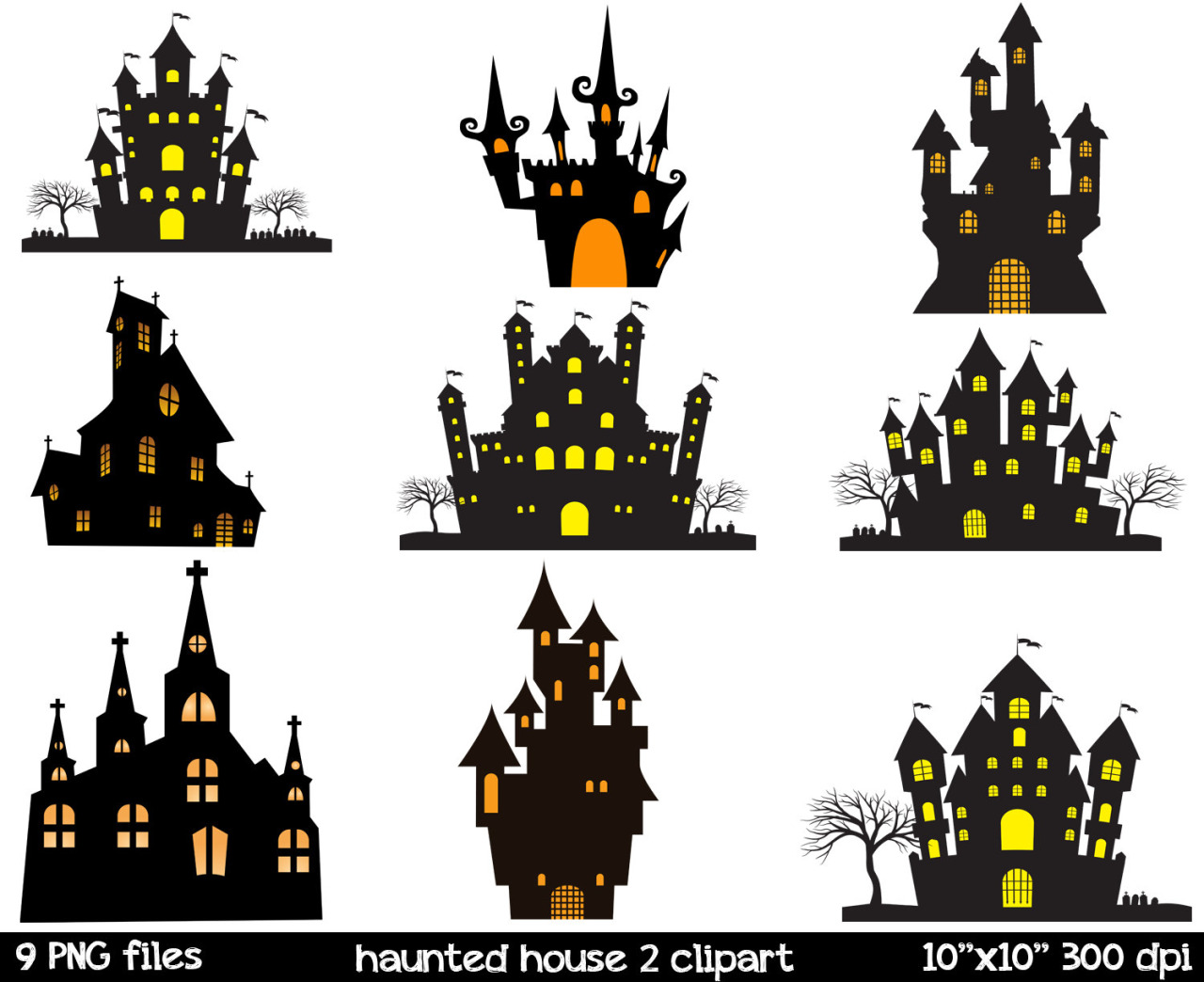 Haunted clipart silhouette #14