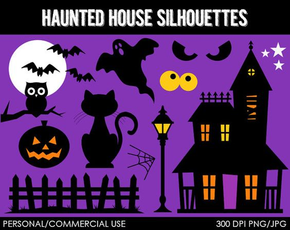 Haunted clipart silhouette #13