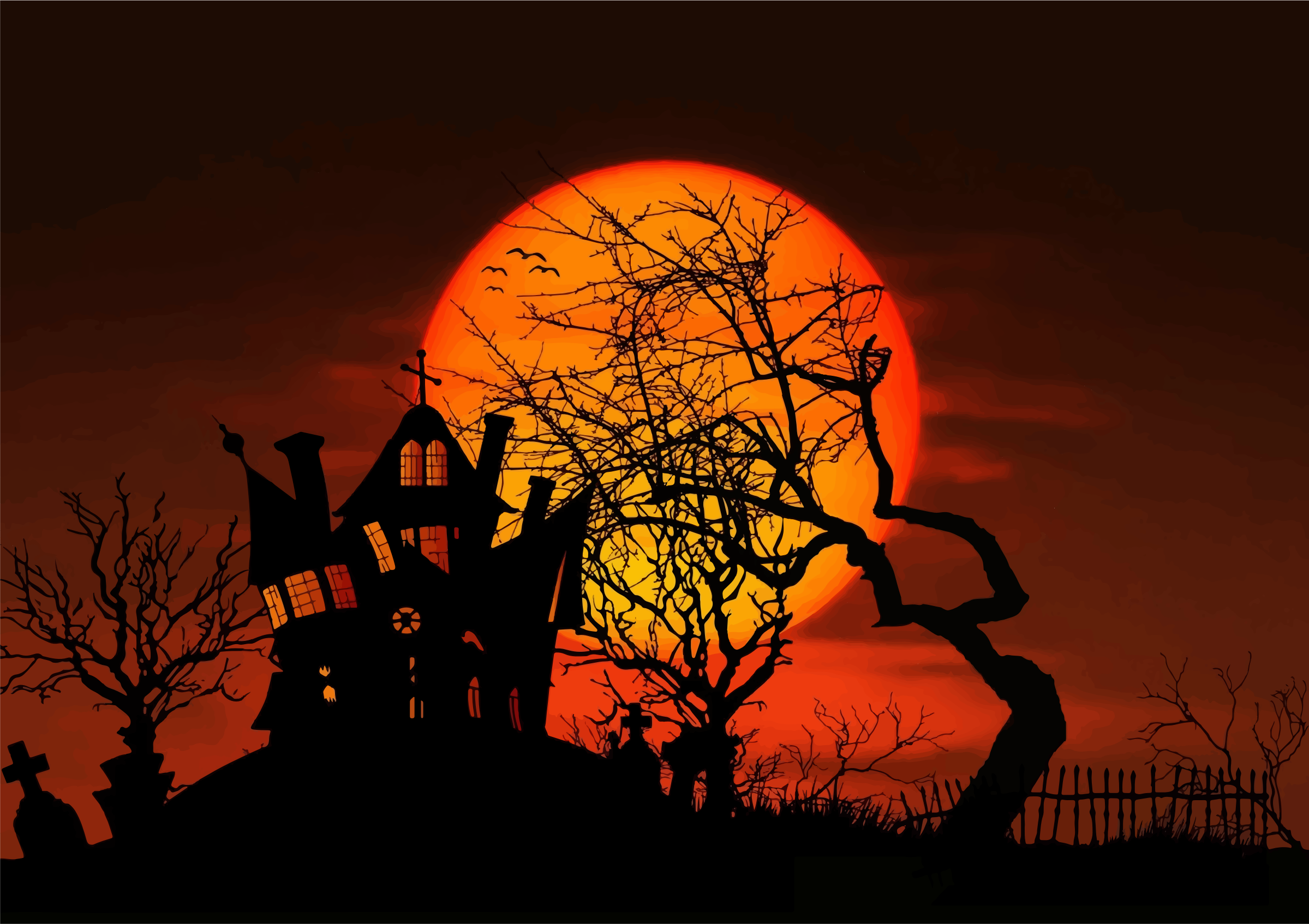 Haunted clipart silhouette #11