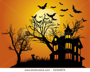 Haunted clipart silhouette #12
