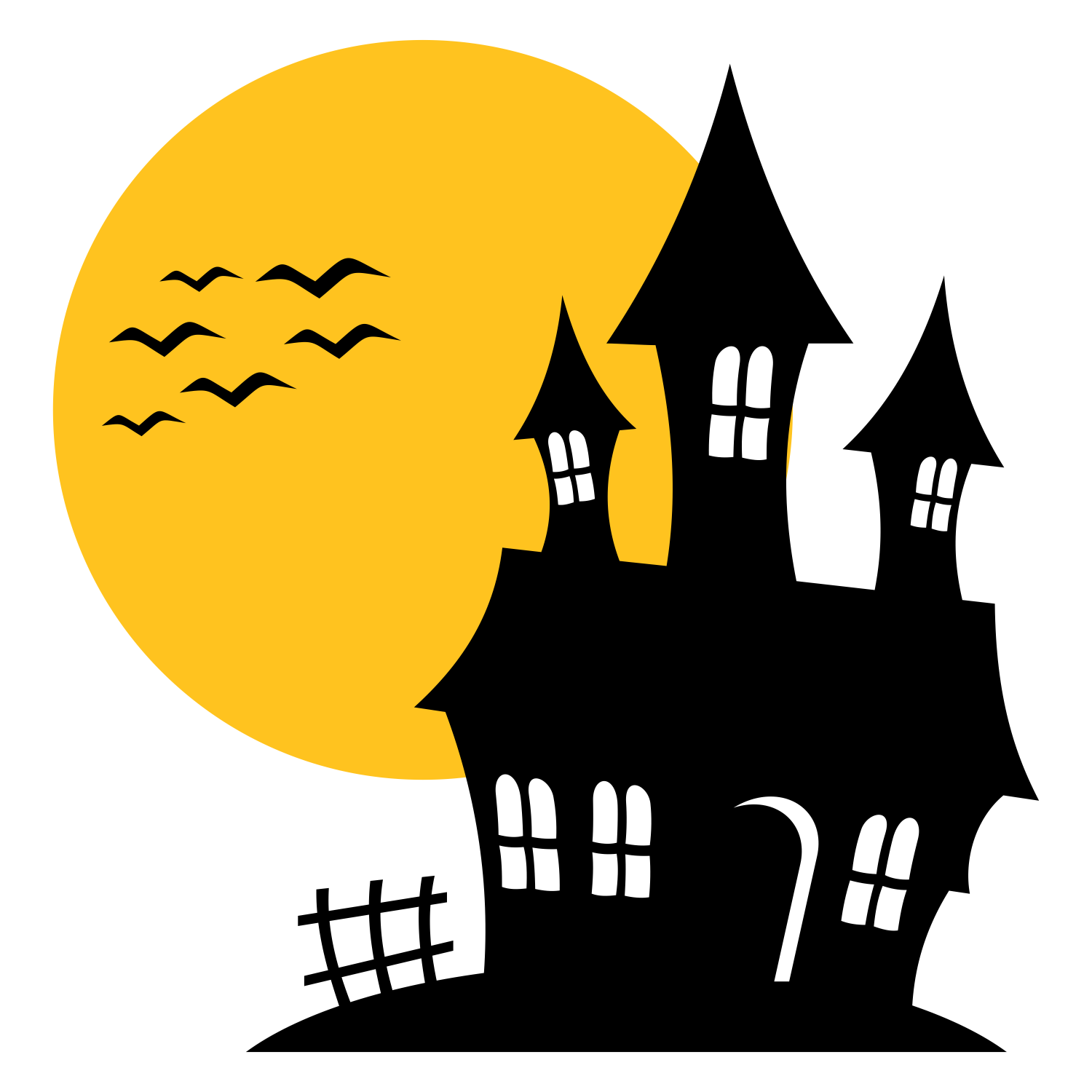 Haunted clipart silhouette #5