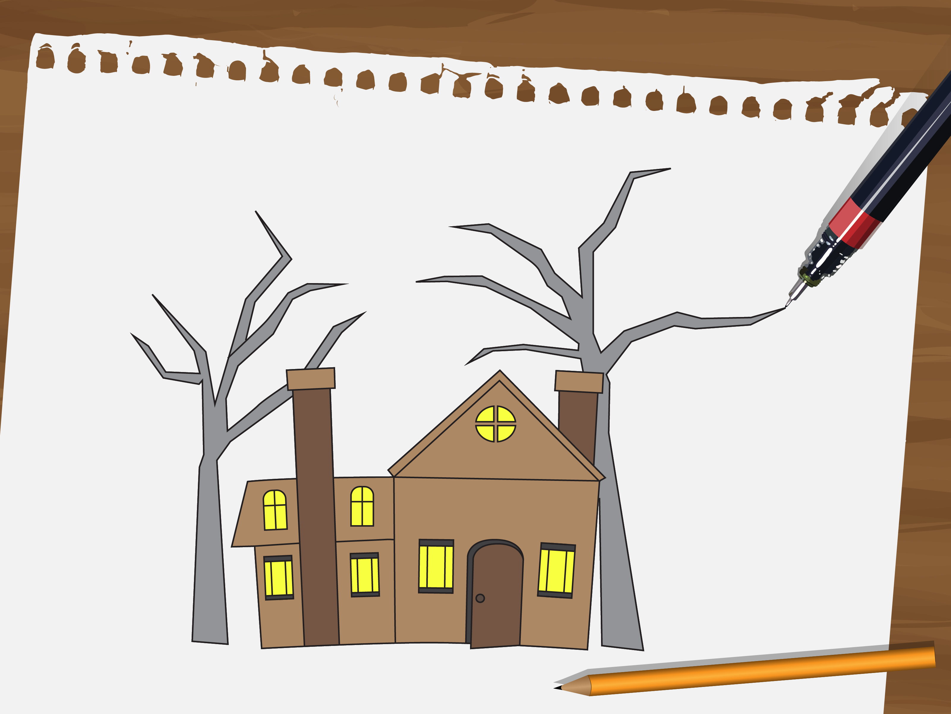 Old House clipart ghost house A Haunted 15 wikiHow Draw