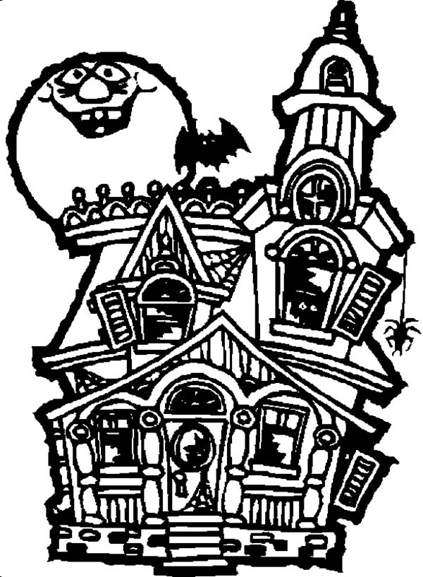 Drawn haunted house creepy house Coloring Page Free Art Download