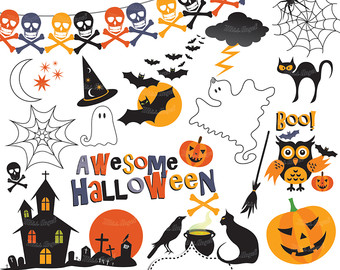 Haunted clipart spider web House pumpkin black Halloween Halloween