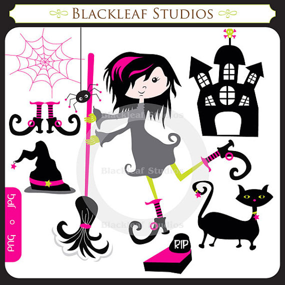 Haunted clipart spider web Haunted house cat or Il_570xn