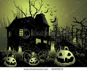 Spooky clipart haunted mansion Spooky a Haunted Near Pumpkins