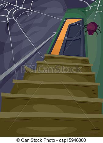 Haunted clipart staircase House Illustration  Halloween of