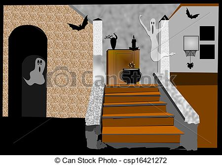 Haunted clipart staircase Illustration old  house dilapidated