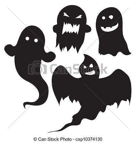 Haunted clipart supernatural Silhouettes royalty  Halloween ghosts