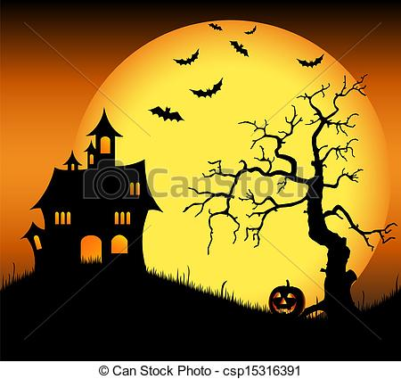 Haunted clipart tree With haunted tree with bats