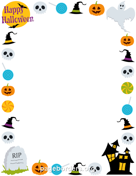 Witch clipart border Halloween Border Page happy Halloween