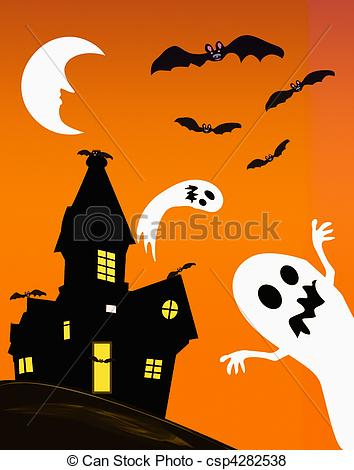 Ghostly clipart haunted Ghosts Haunting free royalty halloween