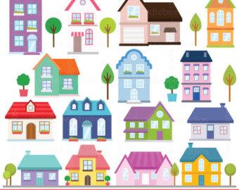 Hosue clipart hause Houses Buildings Clipart Clip Etsy
