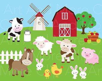 Bunny clipart farm Clipart Etsy Art Animal Pig