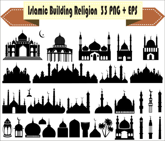 Haven clipart islam EPS Vector Silhouette Religion Building