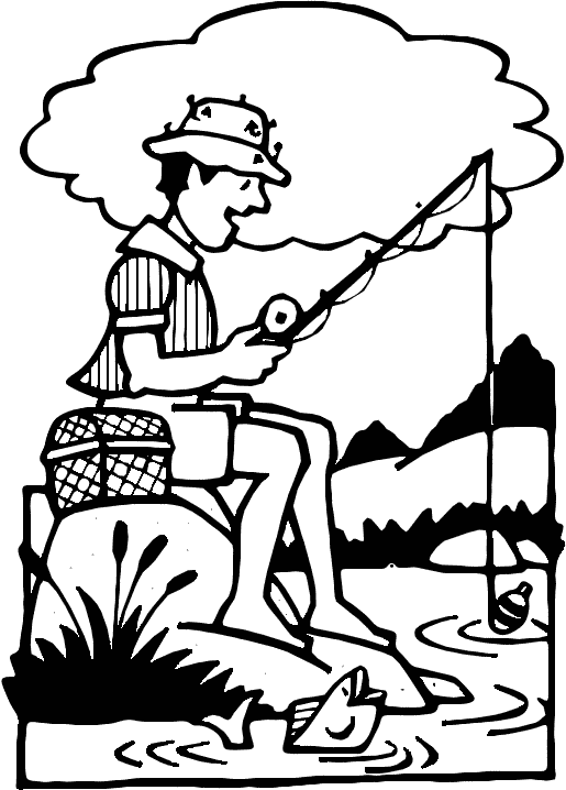 Fisherman clipart black and white #13